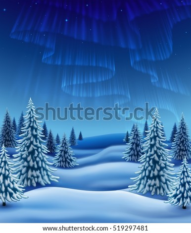 Winter landscape with polar lights, background for christmas and new year greeting, illustration with pine trees in snow, EPS 10 contains transparency.