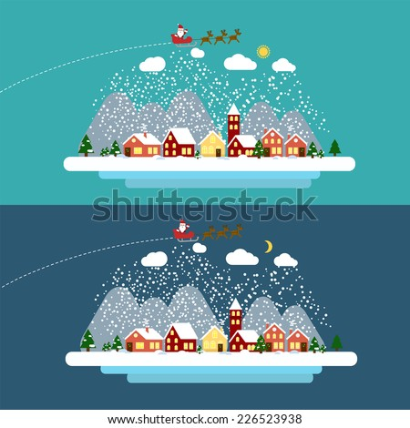 Winter landscape with small village Christmas tree and flying sleigh with reindeer and Santa Vector illustration in flat design style EPS 10