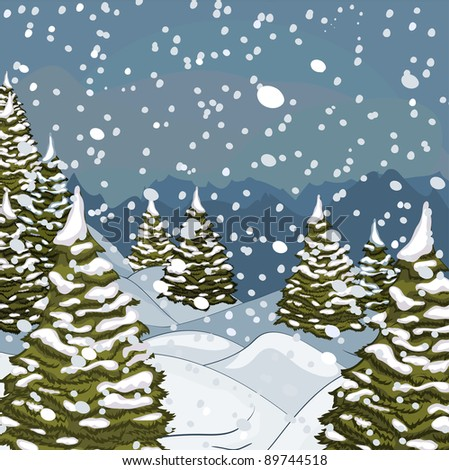 Winter landscape with snow and fir-trees