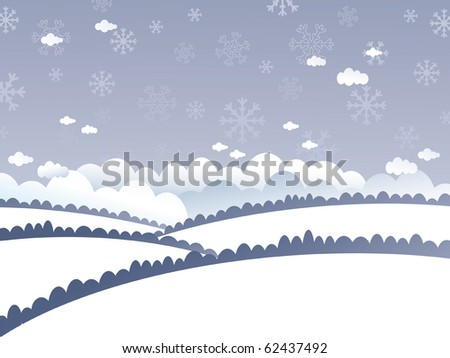 winter landscape with snow covered hills and snowflakes