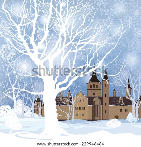 Winter landscape with snow forest and building. Old house in park over snow.