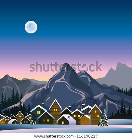 Winter landscape with snow houses, mountains and full moon