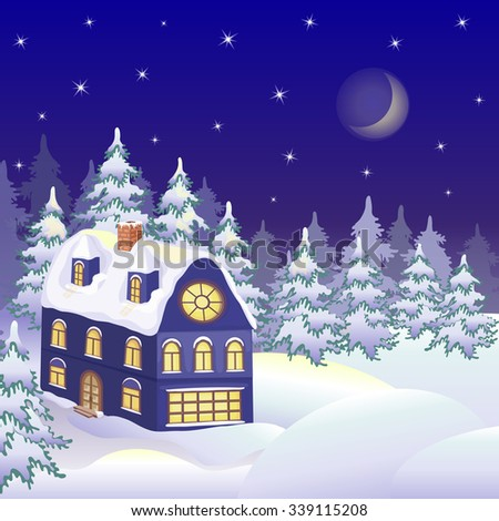 Winter landscape with snowy house. Christmas greeting card. Colorful vector illustration.