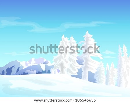 winter landscape with snowy pine trees