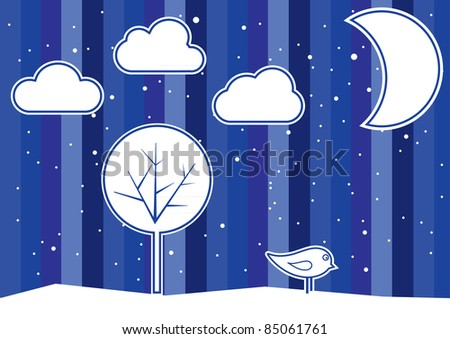 Winter landscape with tree and bird, vector illustration