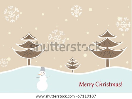 Winter Landscape with trees and snow man
