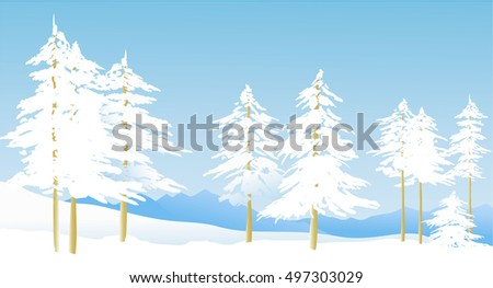 winter landscape with  white