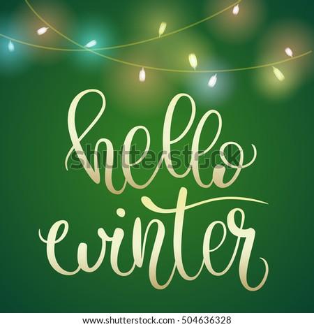 winter lettering design golden