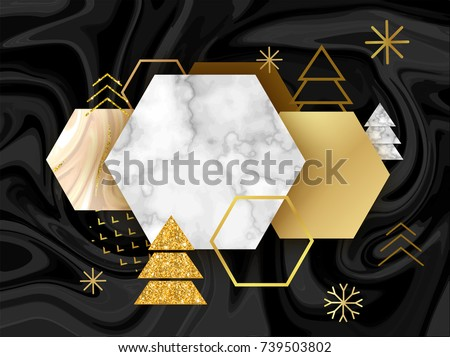 Winter minimalistic poster in trendy scandinavian geometric style with marble stone texture, christmas tree silhouette, snowflakes, hexagons, metal foil and glitter, holiday invitation template