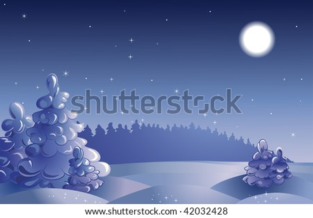 Winter moon night landscape with furtrees.