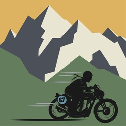 Winter mountain adventure background, vector illustration