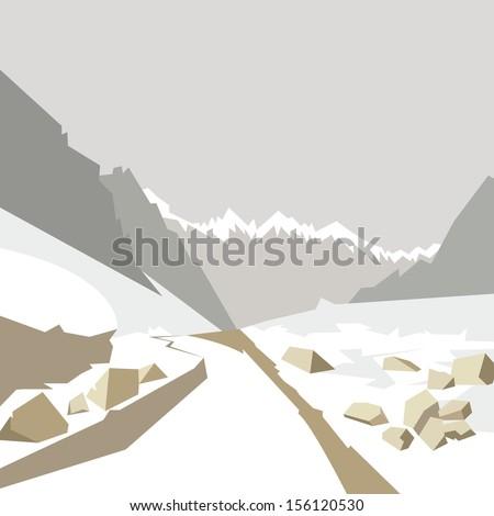 Winter mountain background, vector illustration