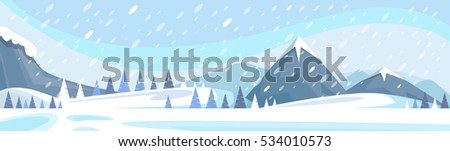 Winter Mountain Landscape White Snow Banner Flat Vector Illustration stock photo