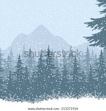 winter mountain landscape with