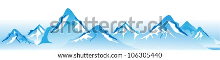 winter mountains vector