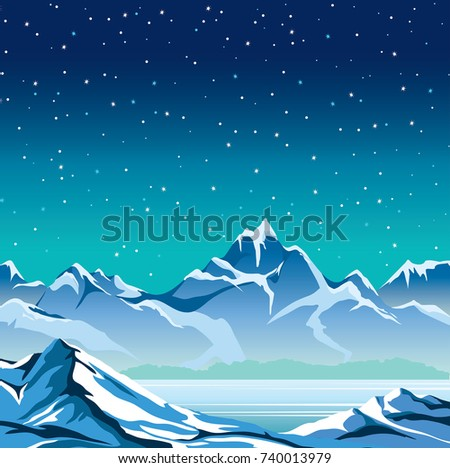 Winter nature landscape. Snowy mountains and frozen lake on a blue night sky with stars. Vector illustration.