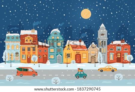 winter night city in retro
