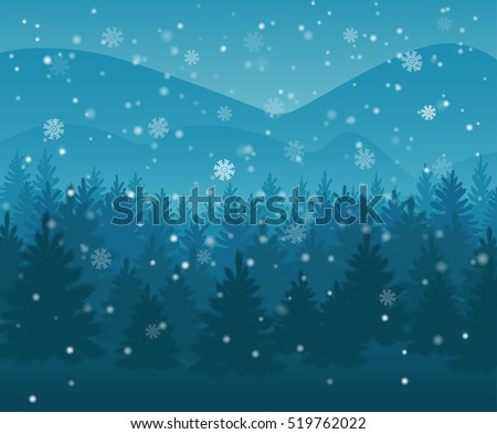 winter night forest falling