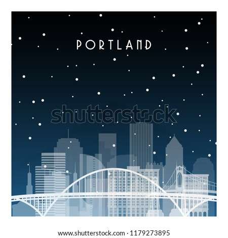 Winter night in Portland. Night city in flat style for banner, poster, illustration, background.