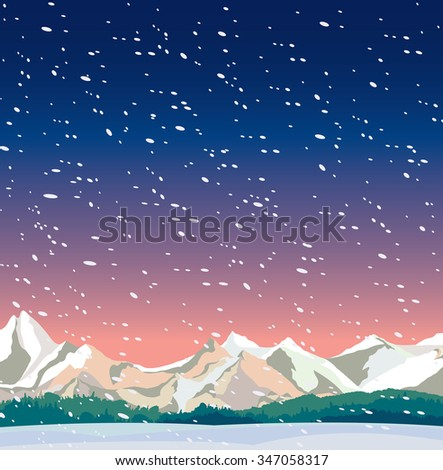 winter night landscape with