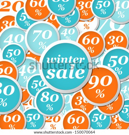 winter orange and blue circle labels with discounts and text
