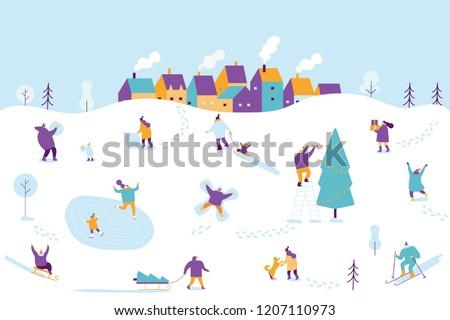 Winter outdoor activities. Snowy city background. People walking,having fun. Flat vector illustration.