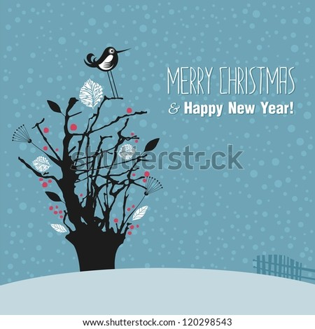 Winter outdoor scene with tree and seasonal greetings