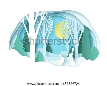 winter paper landscape snowy