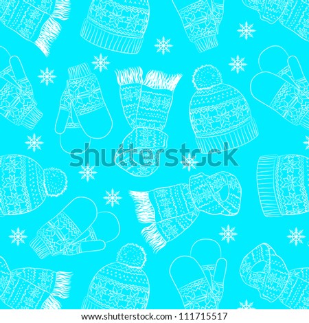 winter pattern with blue hat, mittens and a scarf