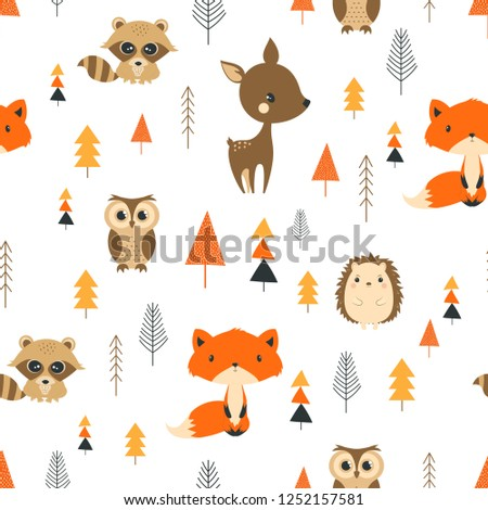 winter pattern with funny owls, fox, hedgehog, raccoon and trees, Christmas forest background