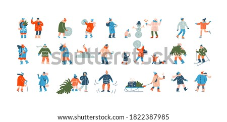 Winter people. Group of cartoon characters dressed in winter clothes with scarves and hats, doing outdoor Christmas activities. Families make snowman, carry Xmas trees. Vector flat isolated set
