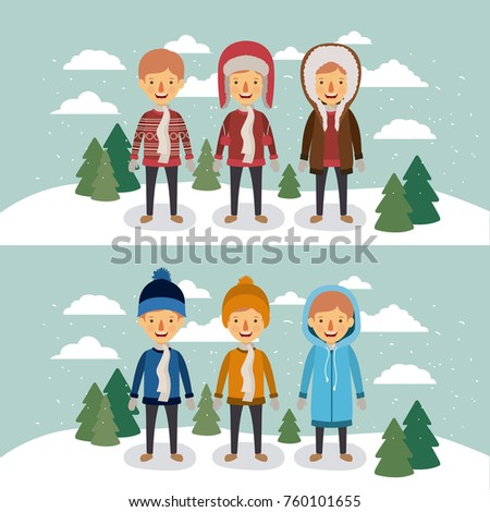 winter people with two scenes