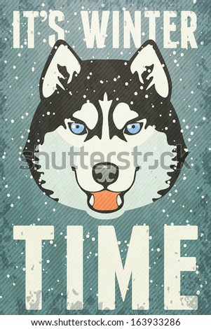 winter poster with husky