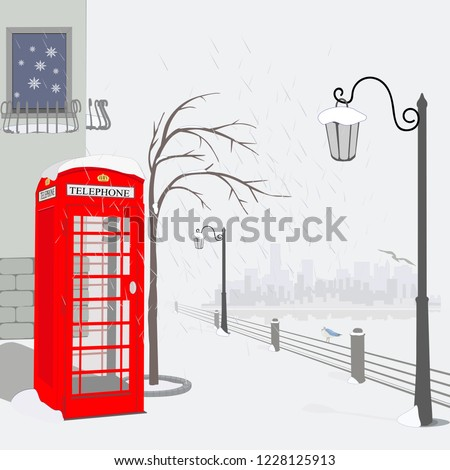 winter quay in london vector