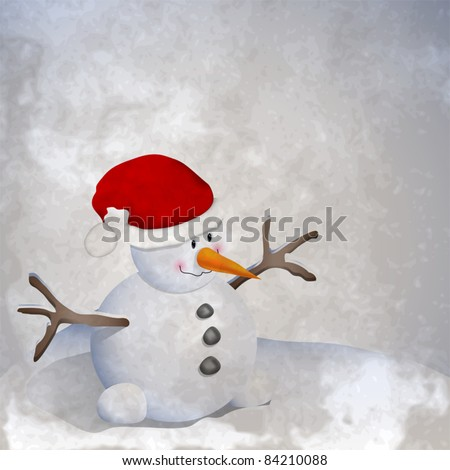 Winter retro background with snowman