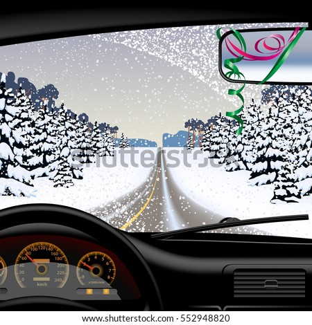 Winter road in snowfall from inside of the car. Vector illustration.