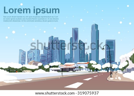 winter road to modern city view