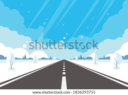 winter road with snow winter