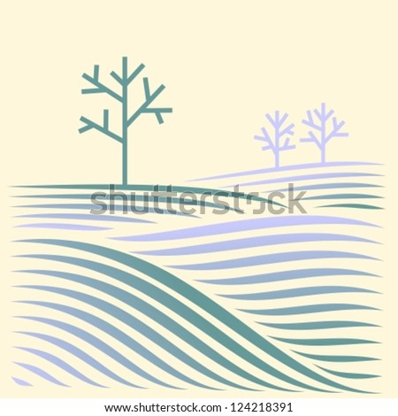 winter rural landscape with fields and tree