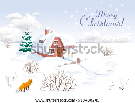 winter rural landscape with