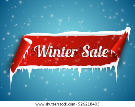 Winter sale background with red realistic ribbon banner and snow.  Vector illustration