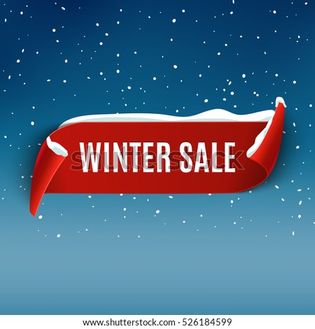 winter sale background with red