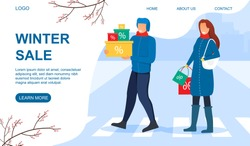 Winter Sale concept with shoppers crossing the street with bargains in gift boxes, copyspace and text, colored vector illustration web page template