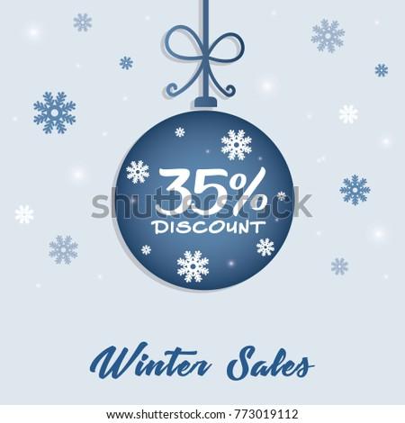 winter sale 35 discount concept