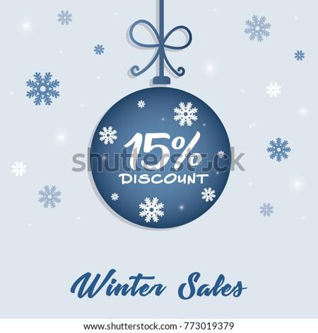 winter sale 15 discount concept