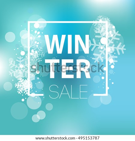 Winter sale inscription on background with snowflake. Vector illustration EPS10. It can be used as a poster, invitation, label, flyer