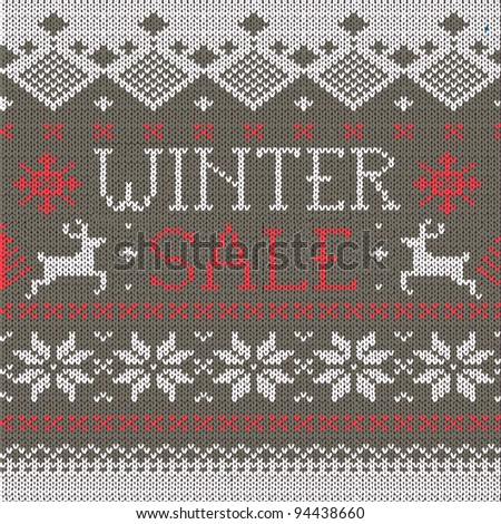 Winter Sale: Scandinavian style seamless knitted pattern with deers
