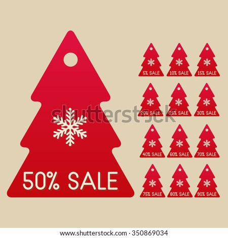 winter sale set of isolated