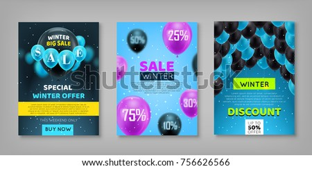 Winter sale set. Sticker, voucher, poster. Collection of promotional materials for the seasonal fair. Profitable offers for discounts, promotions, gifts, vector illustration