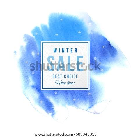 winter sale square banner over
